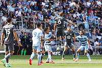 ST. PAUL, MN - AUGUST 21: Osvaldo Alonso #6 of Minnesota United FC with the header during a game between Sporting Kansas City and Minnesota United FC at Allianz Field on August 21, 2021 in St. Paul, Minnesota.