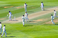 NZ's Trent Boult celebrates dismissing India's Ajinkya Rahane early on day four of the International Test Cricket match between the New Zealand Black Caps and India at the Basin Reserve in Wellington, New Zealand on Monday, 24 February 2020. Photo: Dave Lintott / lintottphoto.co.nz