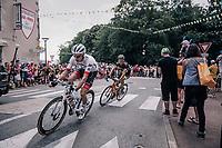 Michael Gogl (AUT/Trek-Segafredo) & Sylvain Chavanel (FRA/Direct Energie) as part of the early breakaway<br /> <br /> Stage 2: Mouilleron-Saint-Germain > La Roche-sur-Yon (183km)<br /> <br /> Le Grand Départ 2018<br /> 105th Tour de France 2018<br /> ©kramon