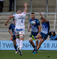 3rd October 2021; AJ Bell stadium, Eccles, Greater Manchester, England: Gallagher Premiership Rugby, Sale v Exeter ; Will Witty of Exeter Chiefs attempts to block the kick by Robert du Preez of Sale Sharks