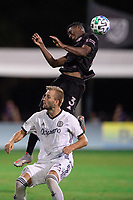 LAKE BUENA VISTA, FL - JULY 14: Andres Reyes #3 of Inter Miami heads the ball during a game between Inter Miami CF and Philadelphia Union at Wide World of Sports on July 14, 2020 in Lake Buena Vista, Florida.
