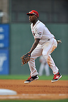 First baseman Josh Ockimey (18) of the Greenville Drive plays defense in a game against the Lakewood BlueClaws on Thursday, June 23, 2016, at Fluor Field at the West End in Greenville, South Carolina. Lakewood won, 8-7. (Tom Priddy/Four Seam Images)