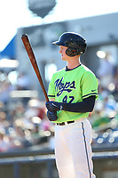 Pavin Smith (47) of the Hillsboro Hops bats against the Spokane Indians at Ron Tonkin Field on July 23, 2017 in Hillsboro, Oregon. Spokane defeated Hillsboro, 5-3. (Larry Goren/Four Seam Images)