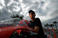 Oct. 31, 2008; Las Vegas, NV, USA: NHRA pro stock motorcycle rider Steve Johnson during qualifying for the Las Vegas Nationals at The Strip in Las Vegas. Mandatory Credit: Mark J. Rebilas-