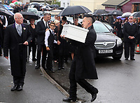 """COPY BY TOM BEDFORD<br />Pictured: Paul Black carries the white coffin of his daughter Pearl to the Jerusalem Baptist Chapel in Merthyr Tydfil, Wales, UK. Friday 18 August 2017<br />Re: The funeral of a toddler who died after a parked Range Rover's brakes failed and it hit a garden wall which fell on top of her will be held today at Jerusalem Baptist Chapel in Merthyr Tydfil.<br />One year old Pearl Melody Black and her eight-month-old brother were taken to hospital after the incident in south Wales.<br />Pearl's family, father Paul who is The Voice contestant and mum Gemma have said she was """"as bright as the stars""""."""