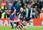 Sasa Lukic (R) of Levante UD competes for the ball with Andres Iniesta Lujan of FC Barcelona during the La Liga 2017-18 match between FC Barcelona and Levante UD at Camp Nou on 07 January 2018 in Barcelona, Spain. Photo by Vicens Gimenez / Power Sport Images