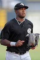 Bristol White Sox center fielder Courtney Hawkins #34 runs off field during a game against the Elizabethton Twins at Joe O'Brien Field on June 25, 2012 in Elizabethton, Tennessee. The Twins defeated the White Sox 9-1. (Tony Farlow/Four Seam Images).