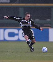 DC United defender Bryan Namoff (26) tries to make a pass. The Kansas City Wizards defeated DC United 4-2, in the home opening game for DC United at RFK Stadium, April 14, 2007.
