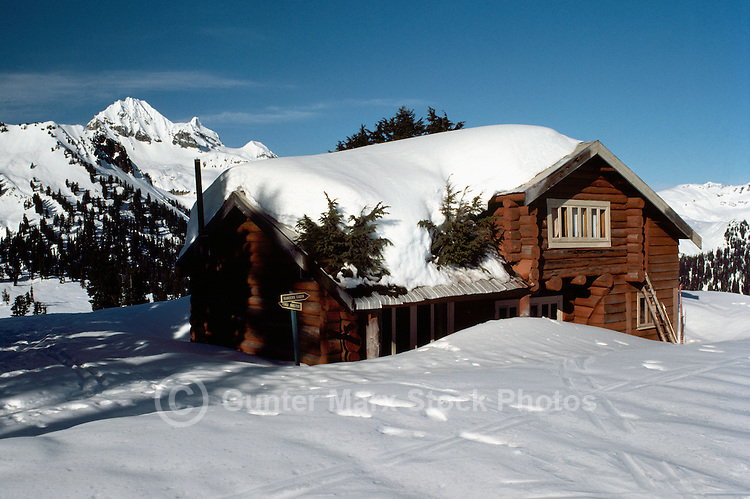 Snow Covered Diamond Head Lodge and Mountain, Garibaldi Provincial Park, near Squamish, BC, British Columbia, Canada - Southwestern BC Region, Winter