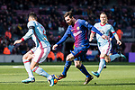 Lionel Messi of FC Barcelona (C) dribbles Hugo Mallo Novegil of RC Celta de Vigo (L) during the La Liga 2017-18 match between FC Barcelona and RC Celta de Vigo at Camp Nou Stadium on 02 December 2017 in Barcelona, Spain. Photo by Vicens Gimenez / Power Sport Images