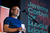 Musician Brian Eno.  Grassroots for Jeremy. 1500 people attend a rally in support of Jeremy Corbyn for Labour Leader. Camden Centre, London.