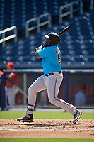 Miami Marlins Lazaro Alonso (91) at bat during an Instructional League game against the Washington Nationals on September 26, 2019 at FITTEAM Ballpark of The Palm Beaches in Palm Beach, Florida.  (Mike Janes/Four Seam Images)