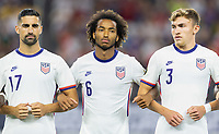 DALLAS, TX - JULY 25: Sebastian Lletget #17 Gianluca Busio #6 Sam Vines #3 of the United States during a game between Jamaica and USMNT at AT&T Stadium on July 25, 2021 in Dallas, Texas.