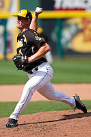 Cale Elam (4) of the Wichita State Shockers throws a pitch during a game against the Missouri State Bears on April 9, 2011 at Hammons Field in Springfield, Missouri.  Photo By David Welker/Four Seam Images