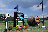 NY, Finger Lakes, Romulus, New York, Cayuga Lake, Logan Ridge Estates Winery sign on the Seneca Wine Trail in the wine growing region of the Finger Lakes.