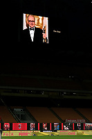 A portrait of the composer Ennio Morricone is displayed on the screen of the stadium prior to the Serie A football match between AC Milan and Juventus FC at stadio San Siro in Milan ( Italy ), July 7th, 2020. Ennio Morricone died today at age of 92. <br /> Photo Federico Tardito / Insidefoto