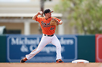 Baltimore Orioles Preston Palmeiro (44) throws to first base during an Instructional League game against the Tampa Bay Rays on October 2, 2017 at Ed Smith Stadium in Sarasota, Florida.  (Mike Janes/Four Seam Images)