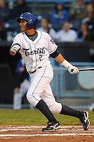 Asheville Tourists Cristhian Adames #2 swings at a pitch during a game against  the Lexington Legends at McCormick Field in Asheville,  North Carolina;  April 15, 2011.  Asheville defeated Lexington 2-1.  Photo By Tony Farlow/Four Seam Images