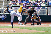 LSU Tigers outfielder Mark Laird (9) at bat during the NCAA College baseball World Series against the Cal State Fullerton on June 16, 2015 at TD Ameritrade Park in Omaha, Nebraska. LSU defeated Fullerton 5-3. (Andrew Woolley/Four Seam Images)