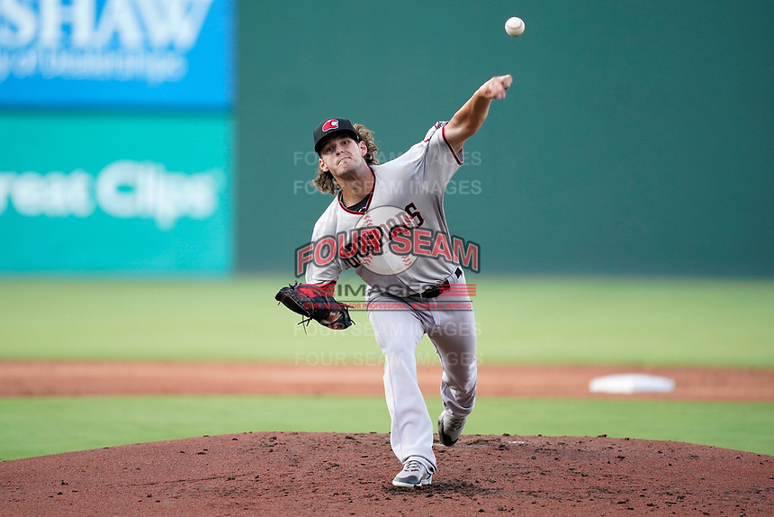 Starting pitcher Cole Ragans (31) of the Hickory Crawdads in a game against the Greenville Drive on Wednesday, June 16, 2021, at Fluor Field at the West End in Greenville, South Carolina. (Tom Priddy/Four Seam Images)