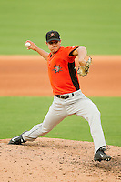 Frederick Keys relief pitcher Gene Escat (50) in action against the Winston-Salem Dash at BB&T Ballpark on May 28, 2013 in Winston-Salem, North Carolina.  The Dash defeated the Keys 17-5 in the first game of a double-header.  (Brian Westerholt/Four Seam Images)
