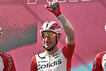 Elia Viviani (ITA) Cofidis at sign on before the start of Stage 4 of the 103rd edition of the Giro d'Italia 2020 running 140km from Catania to Villafranca Tirrena, Sicily, Italy. 6th October 2020.  <br /> Picture: LaPresse/Gian Mattia D'Alberto   Cyclefile<br /> <br /> All photos usage must carry mandatory copyright credit (© Cyclefile   LaPresse/Gian Mattia D'Alberto)