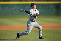 Catawba Indians shortstop Jeremy Simpson (3) makes a throw to home plate during infield practice prior to the game against the Belmont Abbey Crusaders at Abbey Yard on February 7, 2017 in Belmont, North Carolina.  The Crusaders defeated the Indians 12-9.  (Brian Westerholt/Four Seam Images)