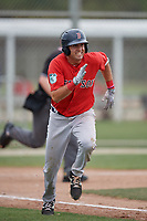 Boston Red Sox C.J. Chatham (5) runs to first base during a minor league Spring Training intrasquad game on March 31, 2017 at JetBlue Park in Fort Myers, Florida. (Mike Janes/Four Seam Images)