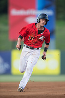 Grant Massey (16) of the Kannapolis Intimidators hustles towards third base against the Asheville Tourists at Kannapolis Intimidators Stadium on May 26, 2016 in Kannapolis, North Carolina.  The Tourists defeated the Intimidators 9-6 in 11 innings.  (Brian Westerholt/Four Seam Images)