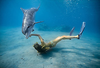 Indo-Pacific bottlenose dolphin, Tursiops aduncus, with woman trainer, Dolphin reef, Eilat, Israel, Red Sea, Indian Ocean, MR