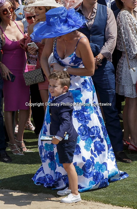 DEL MAR, CA  JULY 16: Hayden Rispoli waits eagerly for the return of #8 Going to Vegas, ridden by Umberto Rispoli after winning the third race on July 16, 2021 at Del Mar Thoroughbred Club in Del Mar, Ca. (Photo by Casey Phillips/Eclipse Sportswire/CSM)