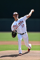 Baltimore Orioles pitcher Brian Matusz (17) during a Spring Training game against the Tampa Bay Rays on March 14, 2015 at Ed Smith Stadium in Sarasota, Florida.  Tampa Bay defeated Baltimore 3-2.  (Mike Janes/Four Seam Images)