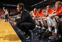 Feb. 16, 2011; Charlottesville, VA, USA; Virginia Cavaliers head coach Tony Bennett watches a play during the second half of the game against the Duke Blue Devils at the John Paul Jones Arena. The Duke Blue Devils won 56-41.  Credit Image: © Andrew Shurtleff