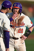 Right fielder Seth Beer (28) of the Clemson Tigers rubs some dirt out of his beard after hitting the ground hard on a pickoff attempt at first base during the game against the Furman Paladins on Tuesday, February 20, 2018, at Doug Kingsmore Stadium in Clemson, South Carolina. He remained in the game. With him is assistant coach Pen Paulsen (15). Clemson won, 12-4. (Tom Priddy/Four Seam Images)