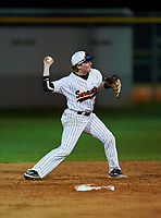 Sarasota Sailors second baseman Carson Long (2) throws to first base during a game against the Riverview Rams on February 19, 2021 at Rams Baseball Complex in Sarasota, Florida. (Mike Janes/Four Seam Images)