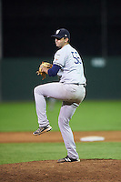 Staten Island Yankees relief pitcher David Palladino (56) during a game against the Batavia Muckdogs on August 27, 2016 at Dwyer Stadium in Batavia, New York.  Staten Island defeated Batavia 13-10 in eleven innings.  (Mike Janes/Four Seam Images)