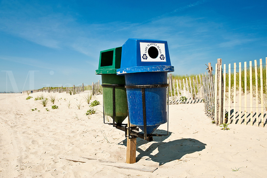 Recycling trash bins, Stone Harbor, NJ, New Jersey