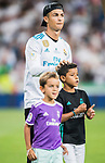 Cristiano Ronaldo of Real Madrid with his sons celebrates the team's winning the Supercopa de Espana after the Supercopa de Espana Final 2nd Leg match between Real Madrid and FC Barcelona at the Estadio Santiago Bernabeu on 16 August 2017 in Madrid, Spain. Photo by Diego Gonzalez Souto / Power Sport Images
