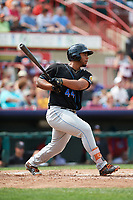 Akron RubberDucks first baseman Bobby Bradley (44) hits a single during a game against the Erie SeaWolves on August 27, 2017 at UPMC Park in Erie, Pennsylvania.  Akron defeated Erie 6-4.  (Mike Janes/Four Seam Images)