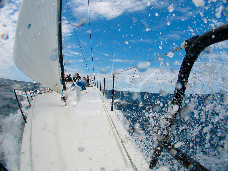 Onboard the Farr design Transpac 65 Rosebud during a training session in Sydney, preparing for the Rolex Sydney to Hobart Yacht Race 2007.