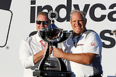 Art StCyr of Honda with the Manufacturers' trophy and Jay Frye of IndyCar