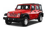 2015 JEEP Wrangler Unlimited Sport 5 Door Sport Utility Vehicle Angular Front stock photos of front three quarter view