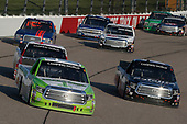 #16: Brett Moffitt, Hattori Racing Enterprises, Toyota Tundra Destiny Homes and #18: Noah Gragson, Kyle Busch Motorsports, Toyota Tundra Safelite AutoGlass