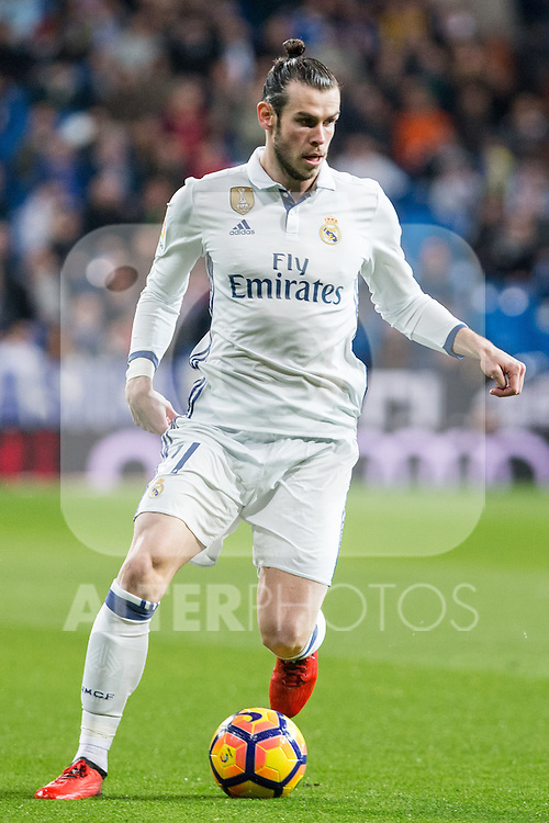 Garet Bale of Real Madrid in action  during the match of Spanish La Liga between Real Madrid and UD Las Palmas at  Santiago Bernabeu Stadium in Madrid, Spain. March 01, 2017. (ALTERPHOTOS / Rodrigo Jimenez)