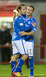 Hamilton Accies v St Johnstone...24.09.13      League Cup<br /> Stevie May celebrates his goal with Chris Millar<br /> Picture by Graeme Hart.<br /> Copyright Perthshire Picture Agency<br /> Tel: 01738 623350  Mobile: 07990 594431