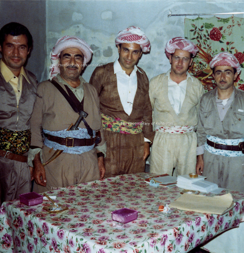Iraq 1971. At the 8th congress of KDP in Nawpurdan, from left to right, Hassan Shatavi, Mustafa Barzani, Nezamedin Kaya from Turkey, Mohammed Saleh Goma and Idris Barzani<br />