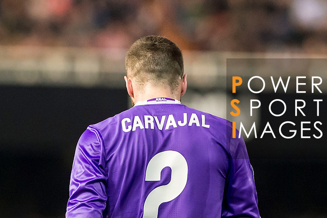 Daniel Carvajal Ramos of Real Madrid reacts during their La Liga match between Valencia CF and Real Madrid at the Estadio de Mestalla on 22 February 2017 in Valencia, Spain. Photo by Maria Jose Segovia Carmona / Power Sport Images