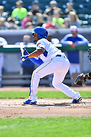 Tennessee Smokies left fielder Charcer Burks (3) squares to bunt during a game against the Jackson Generals at Smokies Stadium on April 11, 2018 in Kodak, Tennessee. The Generals defeated the Smokies 6-4. (Tony Farlow/Four Seam Images)