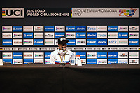 Picture by Alex Whitehead/SWpix.com - 24/09/2020 - Cycling - 2020 UCI Road World Championships - Imola, Emilia-Romagna, Italy - Anna van der Breggen of the Netherlands speaks during a press conference after winning Gold in the Elite Women's Time Trial. - SANTINI