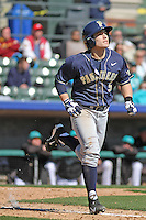 University of Pittsburgh infielder Matt Johnson #5 at bat during a game against the Coastal Carolina University Chanticleers at Ticketreturn.com Field at Pelicans Ballpark on February 16, 2014 in Myrtle Beach, South Carolina. Pittsburgh defeated Coastal Carolina by the score of 10-6. (Robert Gurganus/Four Seam Images)